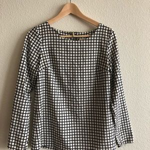 Merona black and white checkered long sleeve top